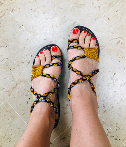 Yellow Chunky Sandals Paracord -edocollection