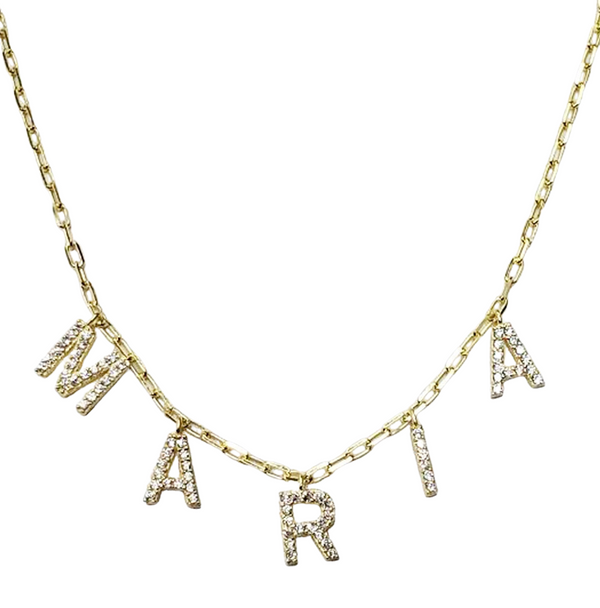 CHAIN LINK CZ NAME NECKLACE