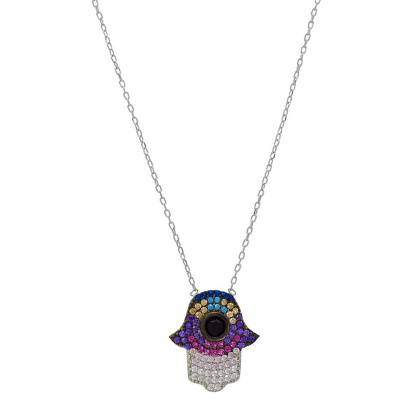MULTI-COLOR HAMSA NECKLACE