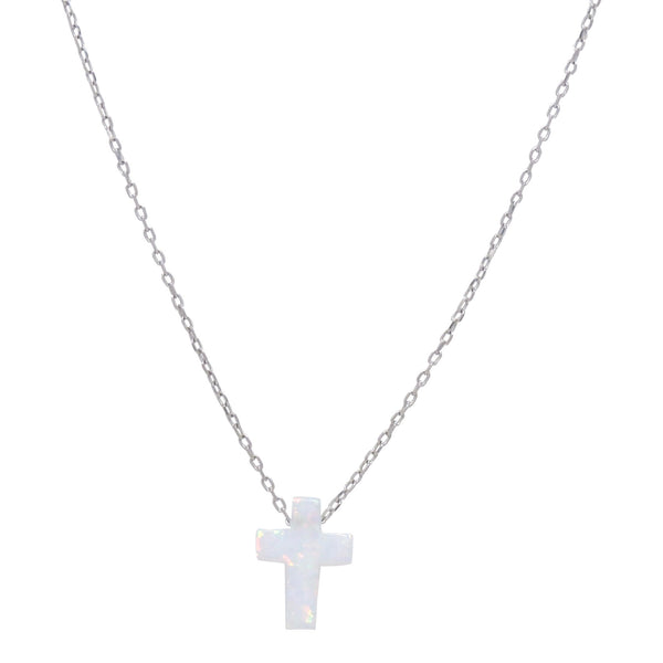 WHITE OPAL CROSS NECKLACE