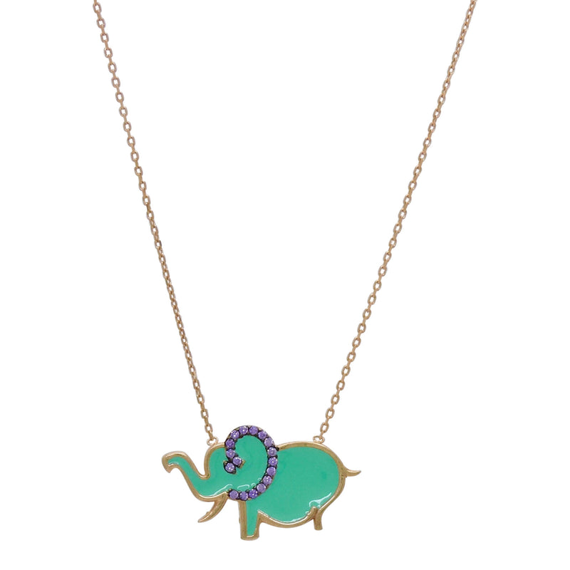 Aqua Elephant Necklace
