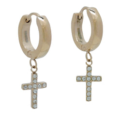 CROSS HUGGIE EARRINGS