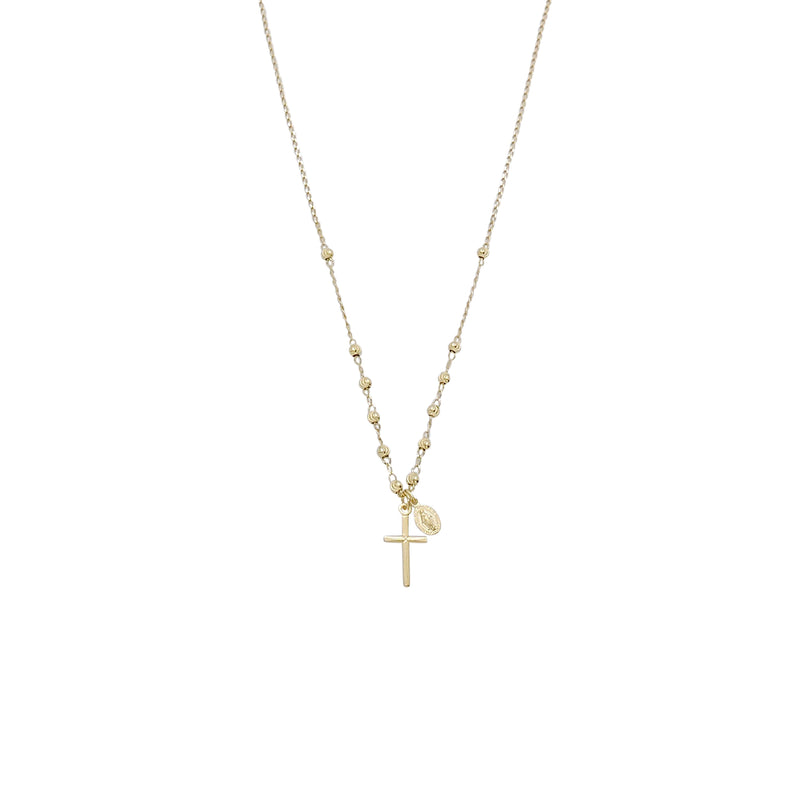 GOLD CROSS BEAD NECKLACE
