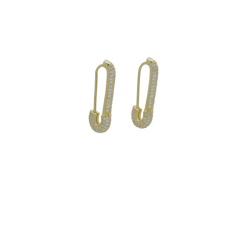PAVE' SAFETY PIN EARRINGS