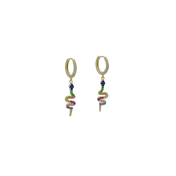 RAINBOW SNAKE HUGGIE EARRINGS