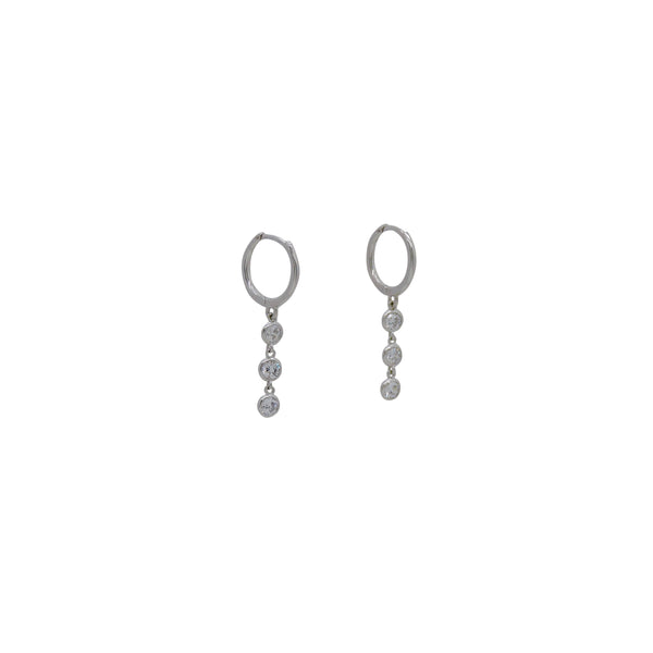 BEZEL DROPS HUGGIE EARRINGS