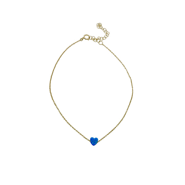 BLUE OPAL HEART ANKLE BRACELET
