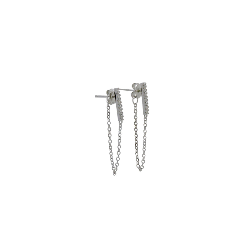 BAR CZ CHAIN EARRINGS