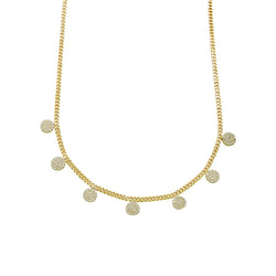 PAVE' DISC CHAIN NECKLACE