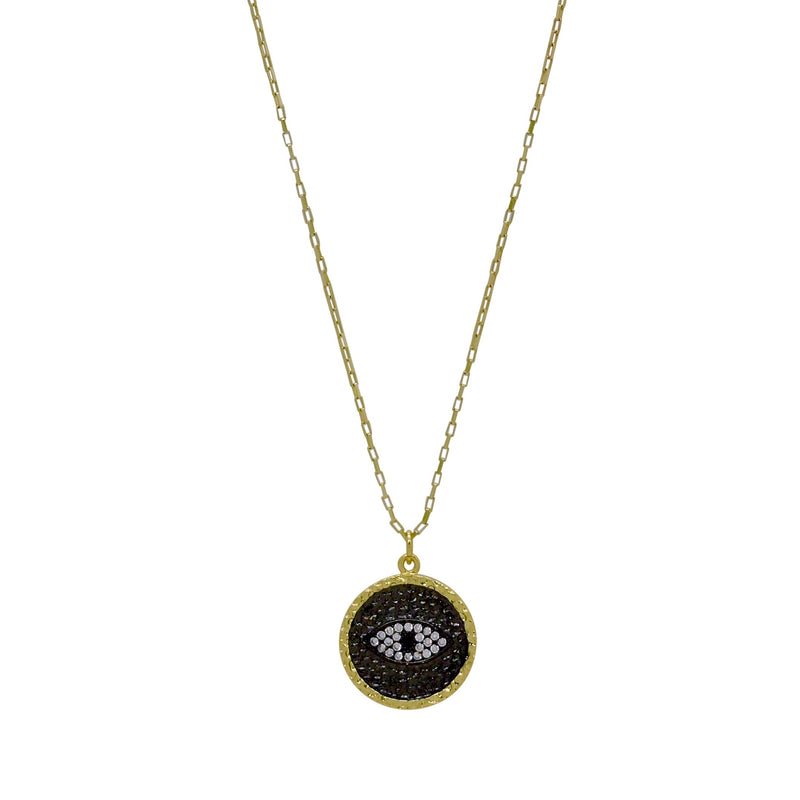 EVIL EYE HAMMERED COIN NECKLACE