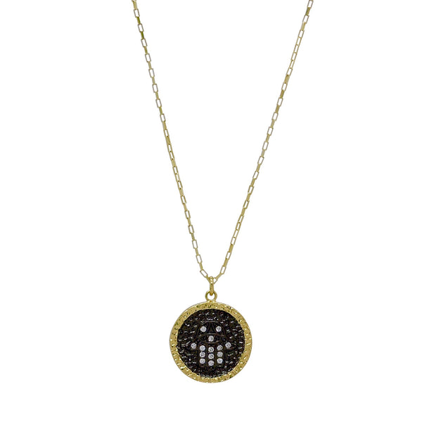 HAMSA HAMMERED COIN NECKLACE