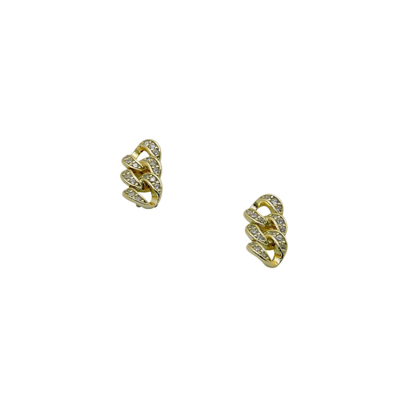 CHAIN CZ STUD EARRINGS