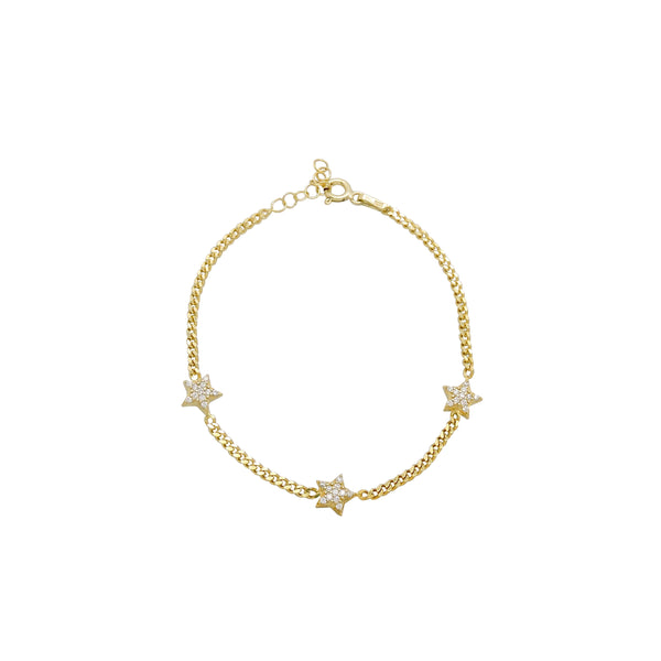 TRIPLE STAR CHAIN LINK BRACELET