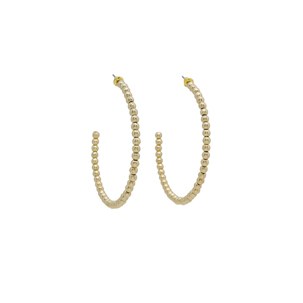 GOLD BEAD HOOP EARRINGS (LARGE)