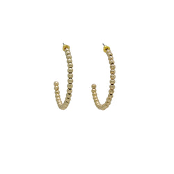 GOLD BEAD HOOP EARRINGS (MEDIUM)