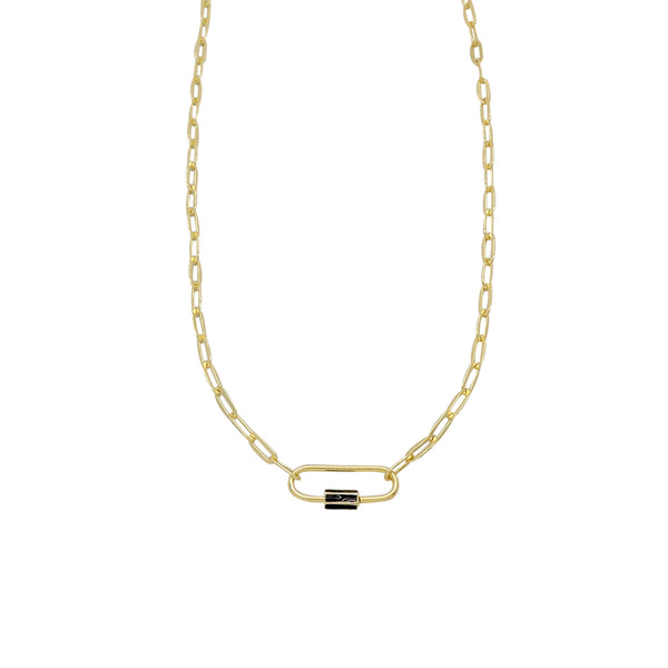 OVAL LOCK CHAIN LINK NECKLACE