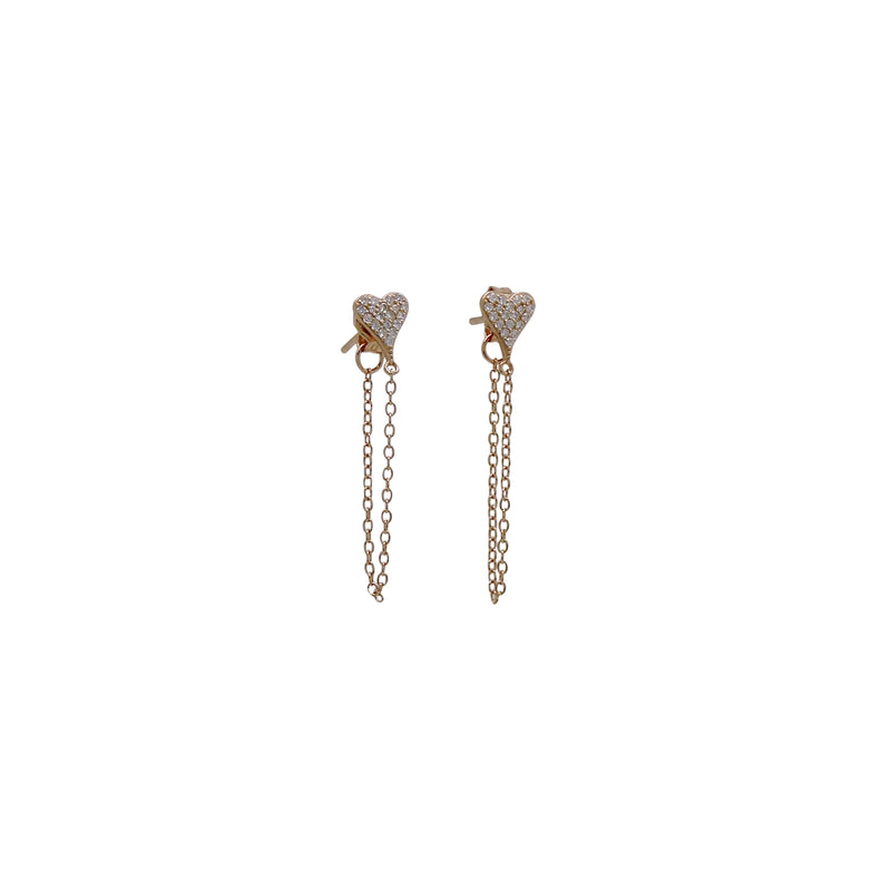 PAVE' HEART CHAIN EARRINGS