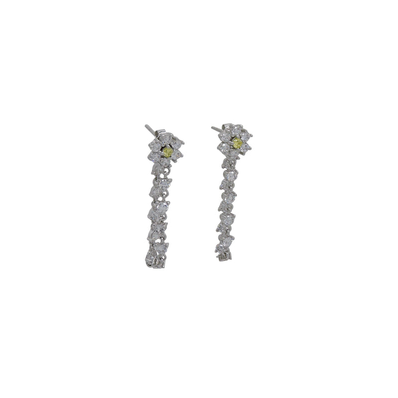 FLOWER CZ CHAIN EARRINGS