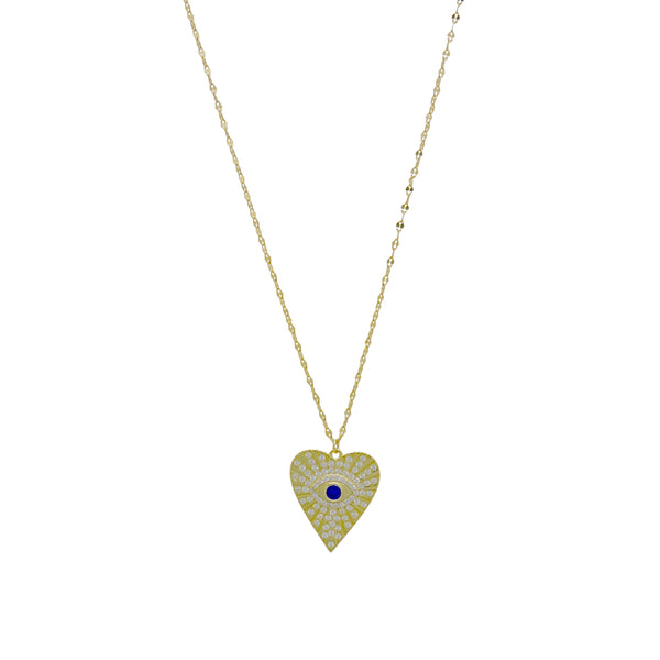 HEART EVIL EYE NECKLACE