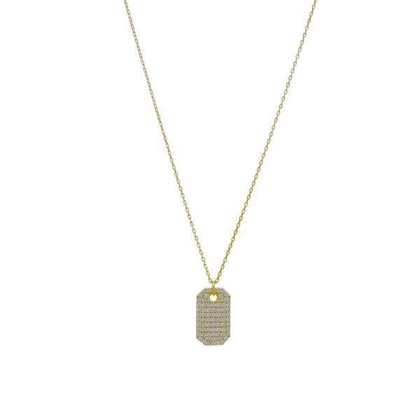 PAVE' CZ TAG NECKLACE