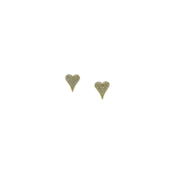 ELONGATED HEART STUD EARRINGS