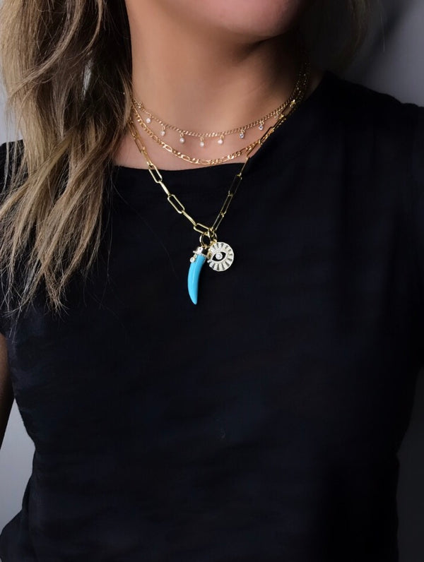 TURQUOISE HORN CHARM