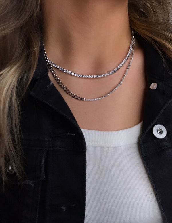 TENNIS CURB CHAIN NECKLACE