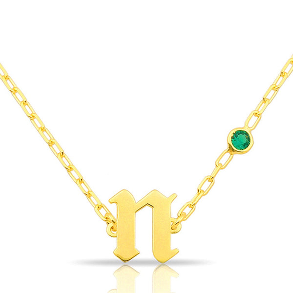 GOTHIC BEZEL INITIAL NECKLACE