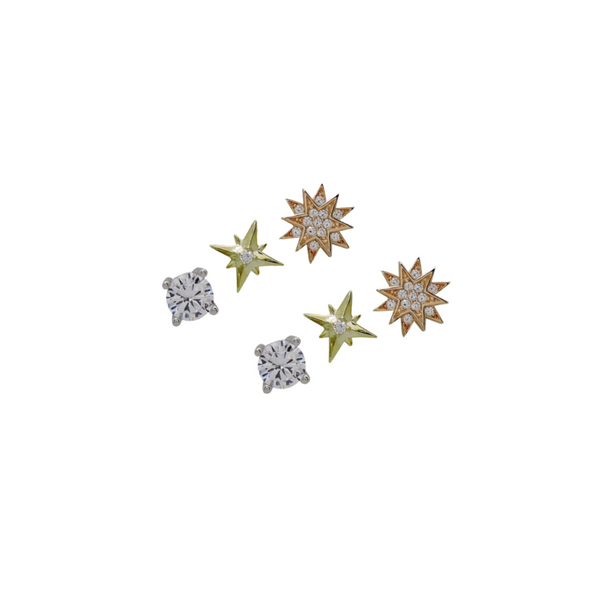 TRI-COLOR STARBURST STUD SET