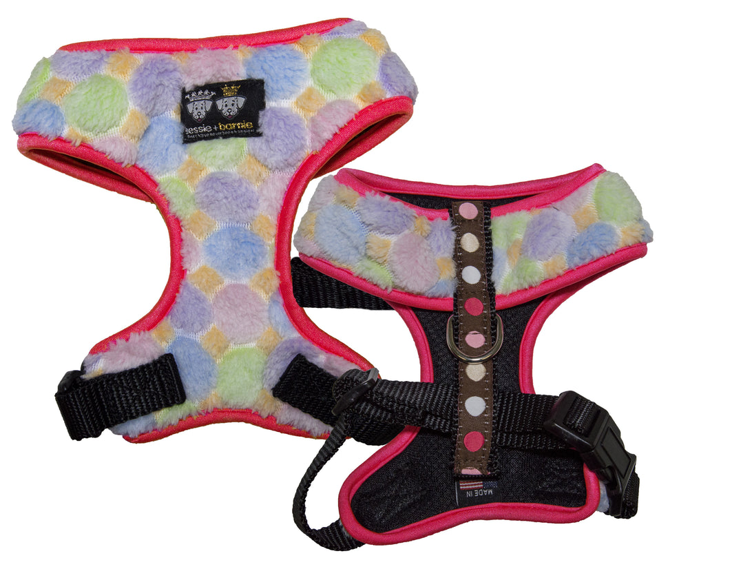 Mesh Comfort Dog Harness with Cover- Blushing Dots / Hot Pink / Ice Cream
