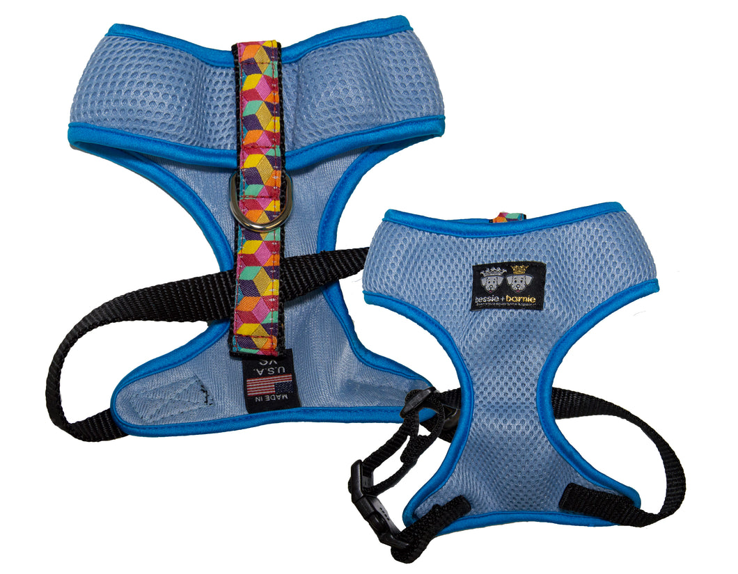 Air Comfort Dog Harness- Rainbow Blocks / Turquoise / Light Blue Comfort
