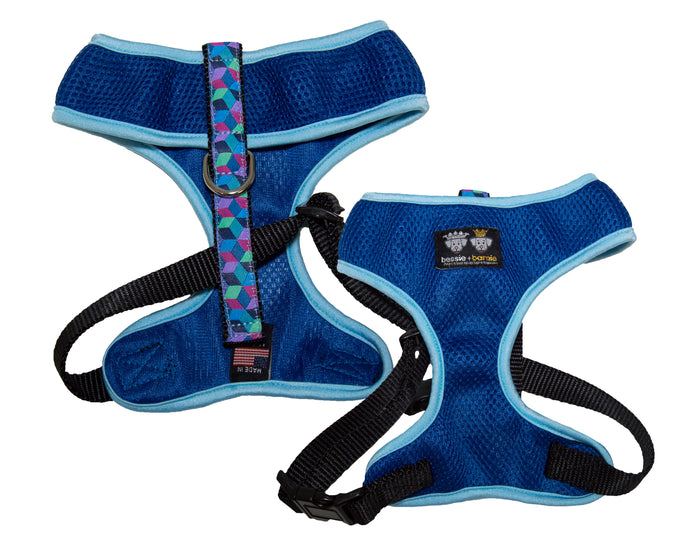 Air Comfort Dog Harness-  Ocean Blocks / Baby Blue / Blue Comfort