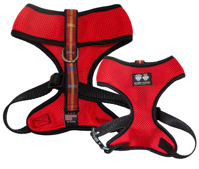 Air Comfort Dog Harness- Crimson Plaid / Black / Red Comfort