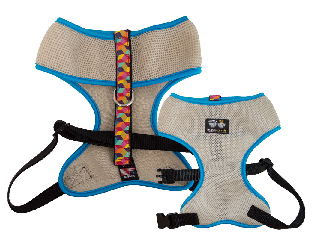 Air Comfort Dog Harness-Rainbow Blocks / Turquoise / Tan Comfort