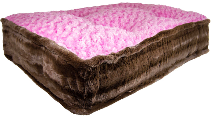 Sicilian Rectangle Bed - Godiva Brown and Cotton Candy