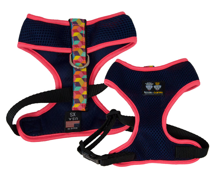 Air Comfort Dog Harness-  Rainbow Blocks / Hot Pink / Navy Blue Comfort