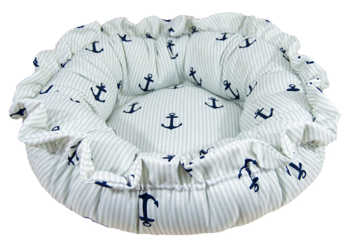 Outdoor Sicilian Rectangle Bed - Navy Sail Boat