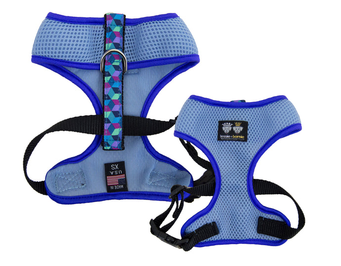 Air Comfort Dog Harness-  Ocean Blocks / Purple / Light Blue Comfort