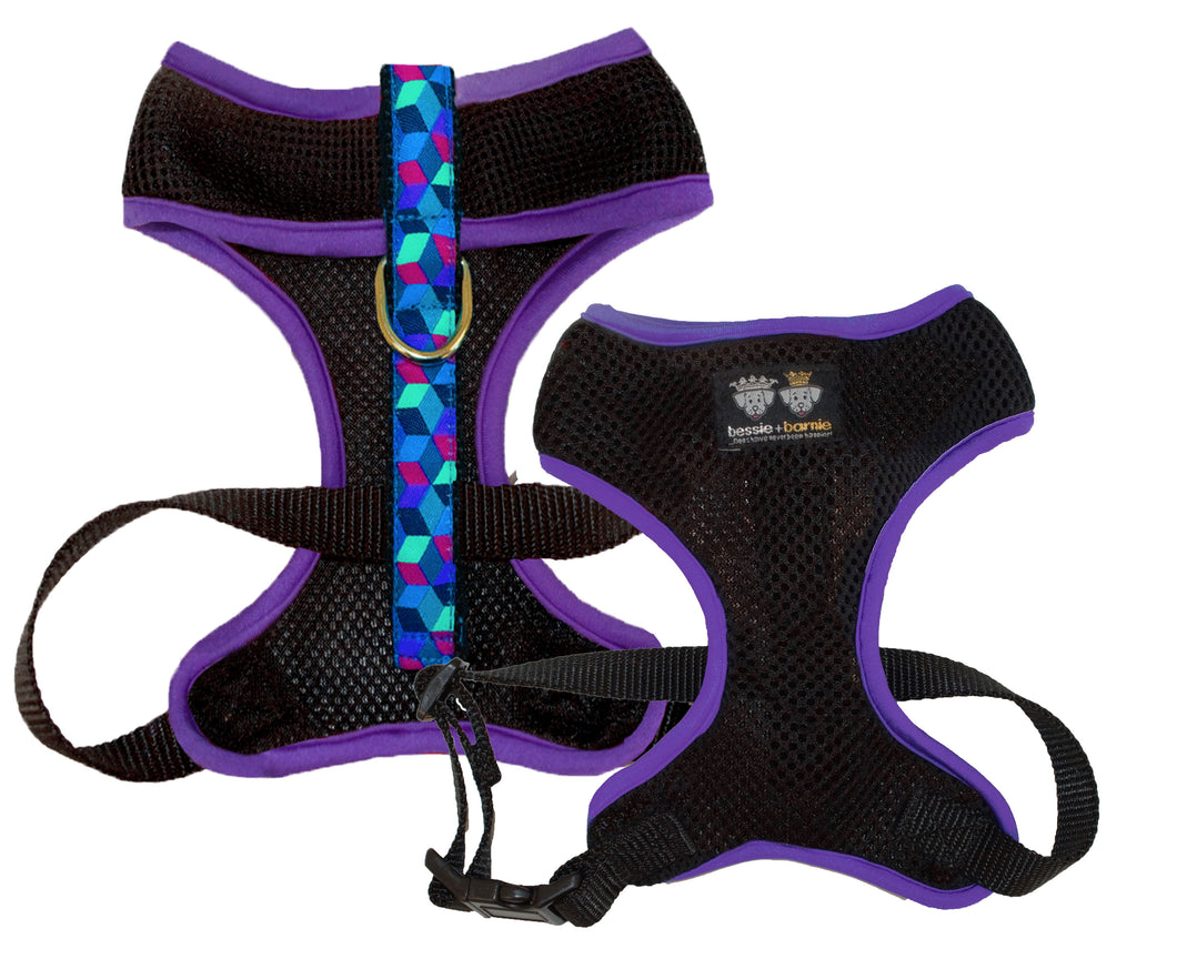 Air Comfort Dog Harness- Ocean Blocks / Purple / Black Comfort