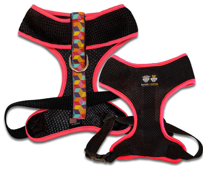 Air Comfort Dog Harness- Rainbow Blocks/ Hot Pink / Black Comfort