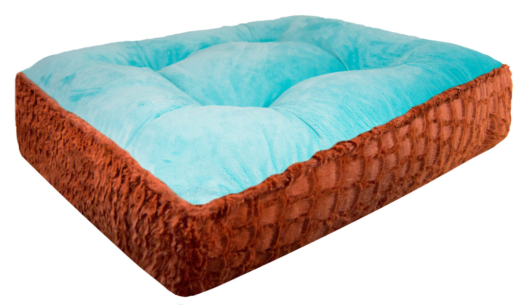 Sicilian Rectangle Bed - Aquamarine and Serenity Rust