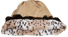 Snuggle Pouch - Aspen Snow Leopard with Divine Caramel and Godiva Brown Ruffles
