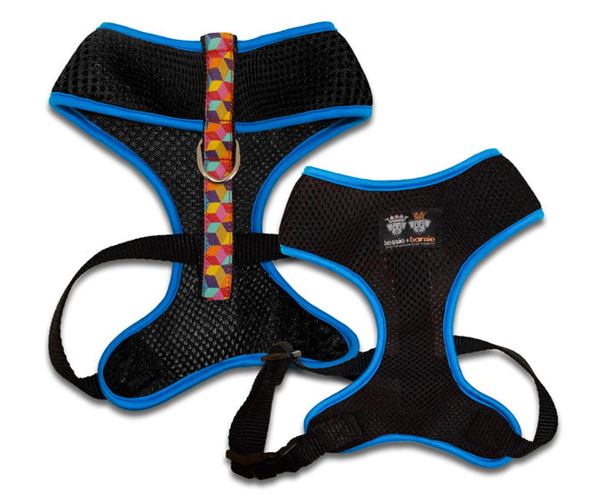 Air Comfort Dog Harness- Rainbow Blocks/ Turquoise / Black Comfort