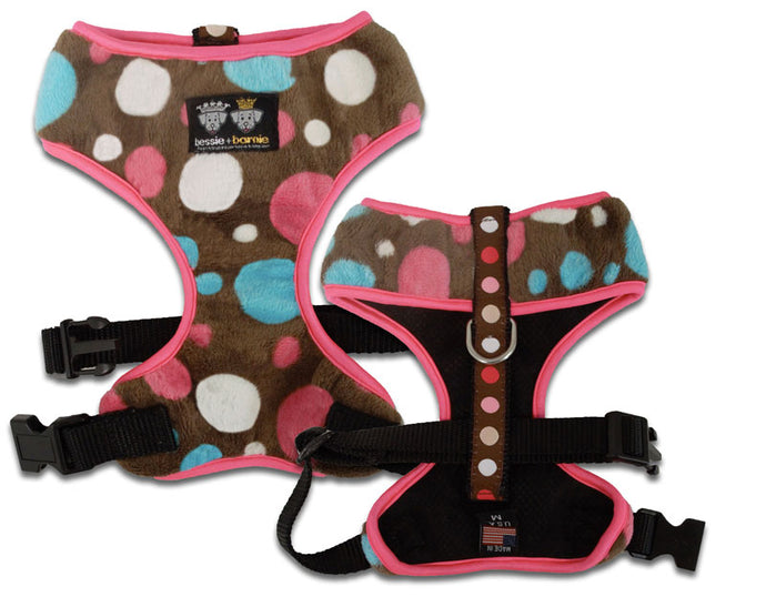 Comfort Dog Harness with Fabric - Blushing Dots / Hot Pink / Cake Pop
