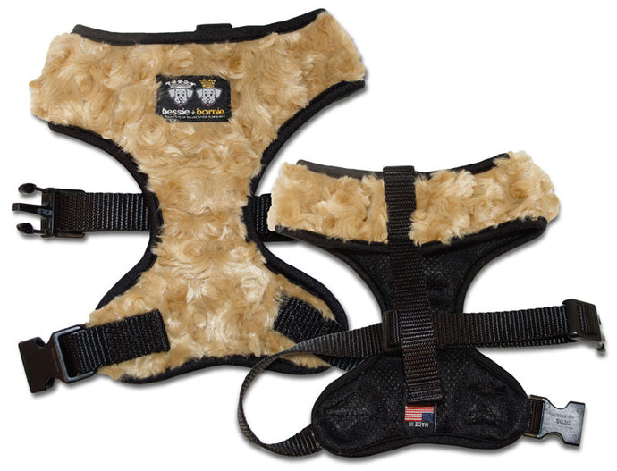 Comfort Dog Harness with Fabric - Black / Black / Camel Rose