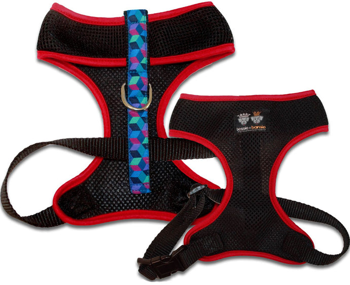 Air Comfort Dog Harness- Ocean Blocks/ Red / Black Comfort