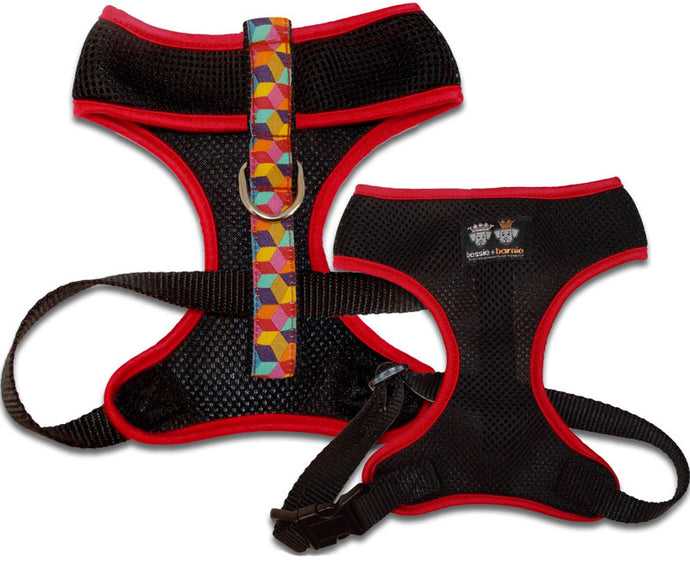 Air Comfort Dog Harness-Rainbow Blocks/ Red / Black Comfort