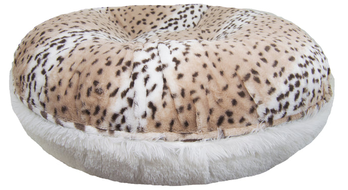 Bagel Bed - Aspen Snow Leopard and Snow White