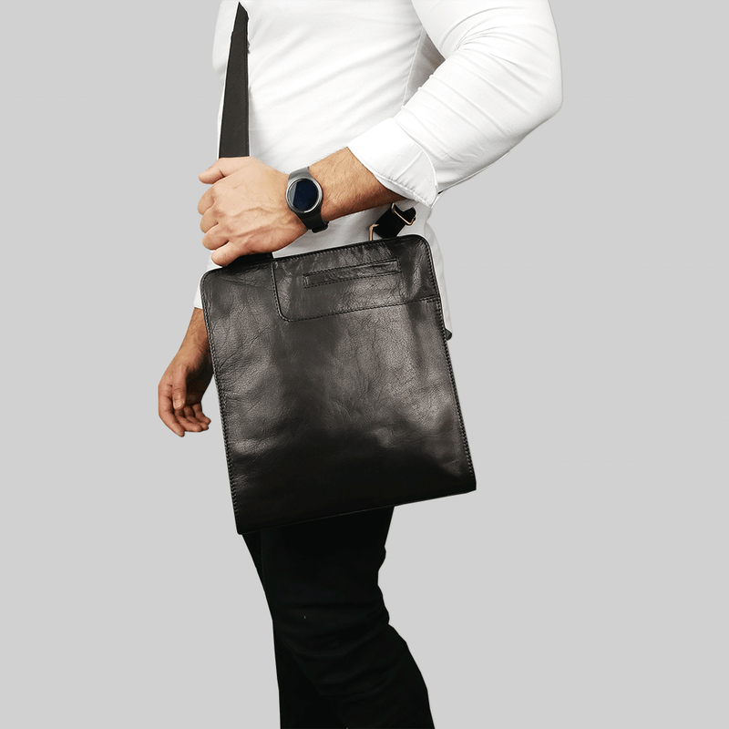 'ALAN' Black Vintage Waxed Leather Crossbody Sling Tablet Bag