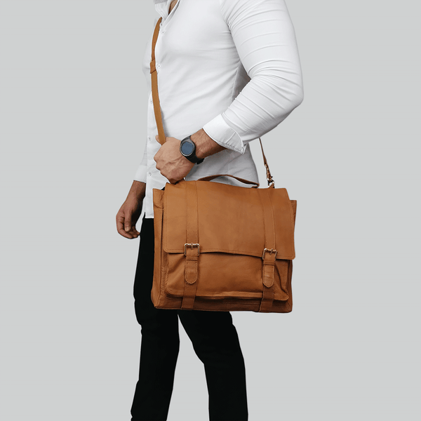 'ARDEN' Tan Vintage Leather Flap-over Satchel Bag